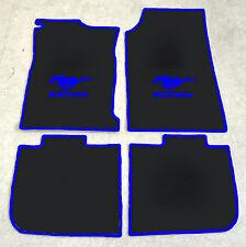 Autoteppich Fußmatten für Ford Mustang Grande 1970-73 Coupe sw blau Velour 4tlg