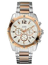 New Guess Men U0165G2 Chrono Round Dial Stainless Two Tones Band Watch