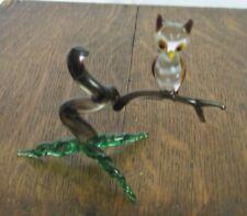 Vintage Murano art glass Owl on branch