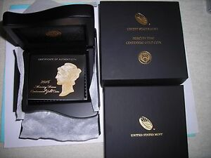 2016-W MERCURY DIME GOLD CENTENNIAL COMMEMORATIVE BOX AND PAPERS ONLY -NO COIN!