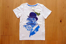 H&M T-Shirt Shirt Top Gr.134 140 8 9 10 Y T-Rex Dinosaurier Dino weiß blau NEU!