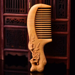 Women Super Natural Cliff Cypress Wood Combs Carving Plum Blossom Wedding Gifts