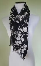 Ralph Lauren black white floral scarf shawl