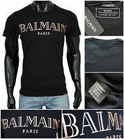 "New men's Balmain Paris Crew Black Tshirts All Sizes Rose Gold Logo ""New Season"""