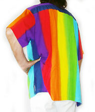 "RAINBOW-COLOURED MENS LOUD HAWIIAN SHIRT STAG NIGHT summer party XXXXXXL 64"" new"