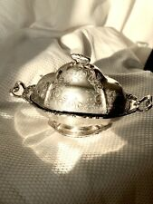 ANTIQUE BARBOUR SILVER CO. QUADRUPLE PLATE TWO HANDLED DOME BUTTER DISH ~ 9""