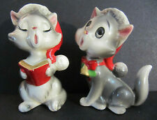 New ListingPair Vtg Lefton Christmas Singing Santa Cat Kittens Figurines X-H6153 lot Japan