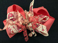 New 6� Custom Boutique Hairbow Disney Princess Pink Cinderella Carriage Wand