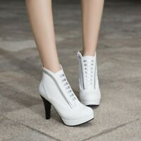 Fashion Womens High Heel Platform Pumps Round Toe Zip Casual Ankle Boots Shoes