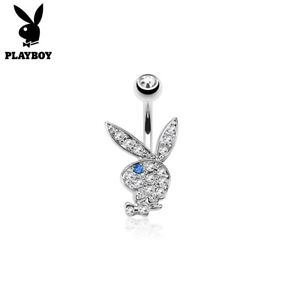 Surgical Steel PLAYBOY BUNNY with Multi Paved Gems Belly Bar