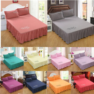 Solid Color Bed Skirt Pillowcases Bedding for Home Bedroom Full Queen King Size
