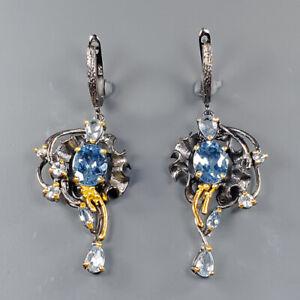 Jewelry Art Design Blue Topaz Earrings Silver 925 Sterling   /E51679