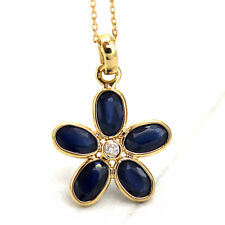 "Natural Blue Sapphire Diamond Pendant 18k Yellow Gold Pendant With 18"" Chain"