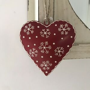 Christmas Shabby Chic Metal Rustic Red Heart with Cream Snowflakes Decoration