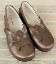 PW Minor Tia Bronze Gold Orthopedic Mary Janes Shoes Size 6.5 W Leather Comfort