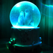 Musical Snow Globe White Polar Bears Water Ball Christmas Gift Music Box LightUp