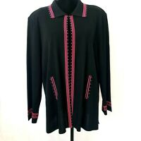 Ming Wang Women Cardigan 2X Plus Size Black Ribbed Texture Sweater Jacket Stripe