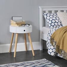 [en.casa] Beistelltisch Kommode Nachttisch Nachtschrank Nachtkommode Ablage Weiß