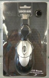 Urban Noir & Argent USB Souris Avec Rétractable Câble