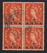 Bpaea British Postal Agency in Eastern Arabia 1952 Qeii 1/2a block used Muscat