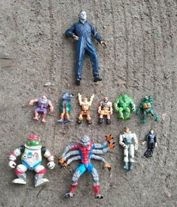 Lot of 11 Action Figures 90s Era Spider-Man Michael Myers & More L@@K
