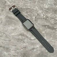 For Apple watch Series 5 44mm Heavy Duty Black Rubber Silicone watch Strap Band