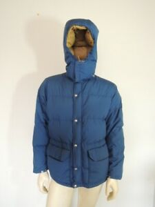 Vintage THE NORTH FACE Brown Tag Blue Hooded Down Jacket Parka Size SMALL