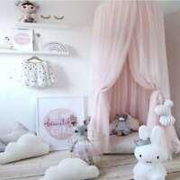 *With 2 Stars* Kids Bed Canopy  Mesh Pink Mesh Net Fairy Princess Girls Nursery