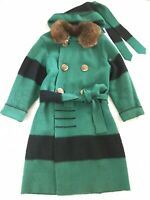 Vintage Green Winter Wool 4 Point Capote Blanket Coat Antique Large