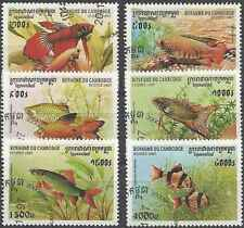 Timbres Poissons Cambodge 1468/73 o lot 1236