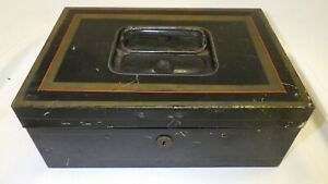 Vintage Antique Black Tin Lock Box Cash & Deed Box w/ Tray Inside & Lock w Key