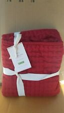 Pottery Barn Cardinal Red Pick Stitch Pickstitch Quilted Sham Euro #4215