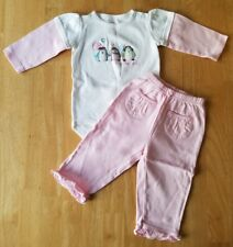 Baby Girls Clothes, Pink/White Penguin Outfit Set, Size 12 Months, Carter's