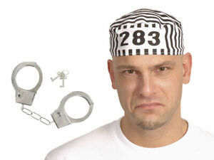 Alsino Knast Gefängnis Kostüm Set 2-teilig (Kv-147) Sträflingsmütze Handschellen