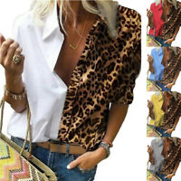 Women Long Sleeve T Shirt V Neck Leopard Chiffon Blouse Loose Casual Ladies Tops