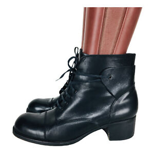 Vintage Charles David by Nathalie Black Leather Lace-Up Ankle Boots Size 9.5