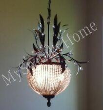 3Lt BEADED CRYSTAL Brass Floral Pendant Chandelier NEIMAN MARCUS Hanging Light