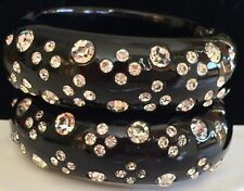 Vintage Weiss Clamper Bracelet~SET Of 2~Thermoplastic/Celluloid~Black/Clear RS