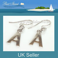 Sterling Silver Initial Earrings A-Z, Personalised Gift by Pearl Island