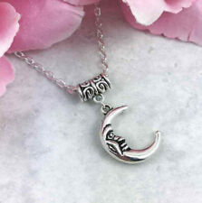 "Silver Crescent Moon Choker Necklace, Short Necklace, 14""-16"" Celestial Necklace"