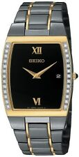 NEW SEIKO SKP340 Two Tone Stainless Steel Diamond Watch Gold Black Ionized Ion