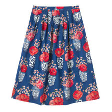 CATH KIDSTON NAVY BLOSSOM VASES PLEATED MIDI SKIRT-SIZE 10-NEW+TAG+GIFT BAG