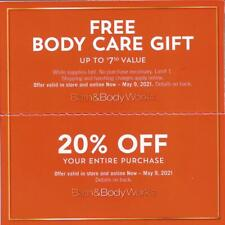 Bath & Body Works 2 Coupons Over $100 Value 20% off and gifts Expires 5/9/21