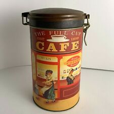 The Tin Box Company The Full Cup Cafe Tin Bristol Ware Clamp Lid Vintage Coffee