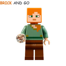 LEGO Minecraft Minifigure Figurine MIN017 Alex + Round Tile NEUF NEW