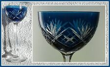 Antique 1920-30s TURQUOISE TEAL AQUA Wine Glass Goblet Hock CUT TO CLEAR CRYSTAL