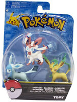 TOMY Pokemon Monster Sylveon Leafeon Glaceon Givrali Figure Toy Sef of 3PCS
