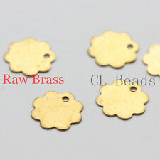 100pcs Raw Brass Flower Charm - 10mm (1854C-U-107)