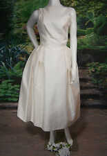 FANCY BRIDAL NY WEDDING GOWN DRESS SILK USA MADE SIZE 8 SHORT TEA VINTAGE INSPIR