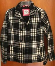 JUSTICE girls pea coat size 12 plaid jacket missing buttons hipster youth med